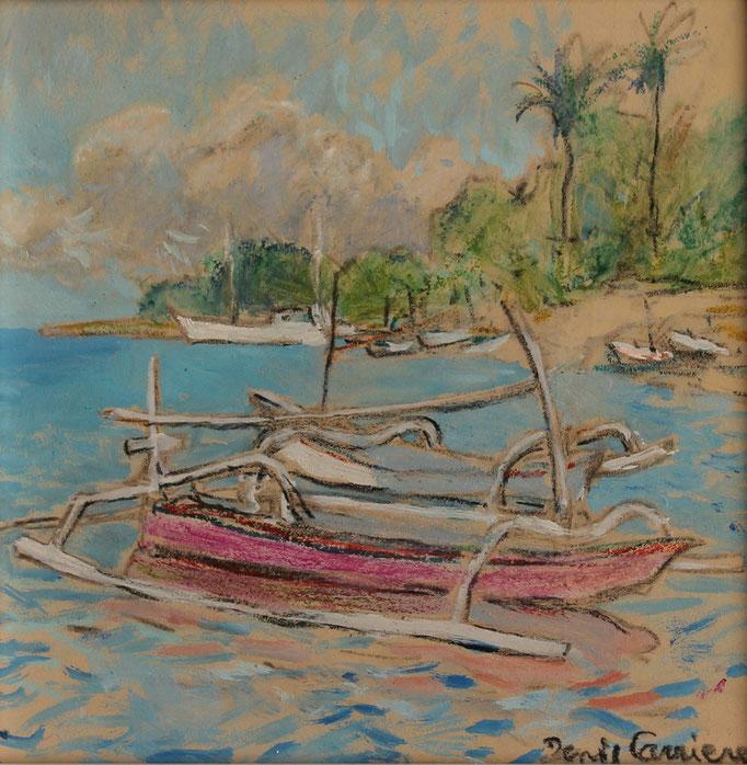 8- Bali, pirogues, Technique mixte (fusain, pastel, huile), format 20 cm x 20 cm, prix : 90 €