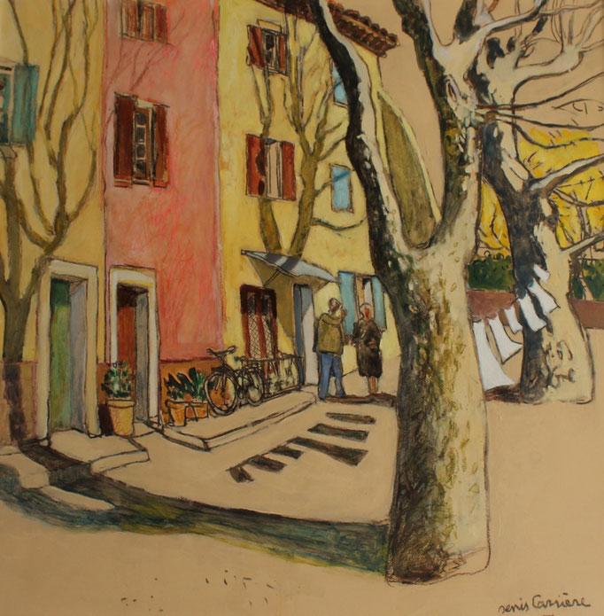 38- Saint-Chinian, quai Villeneuve, Technique mixte (fusain, pastel, huile), format 80 cm x 80 cm, prix : 850 €