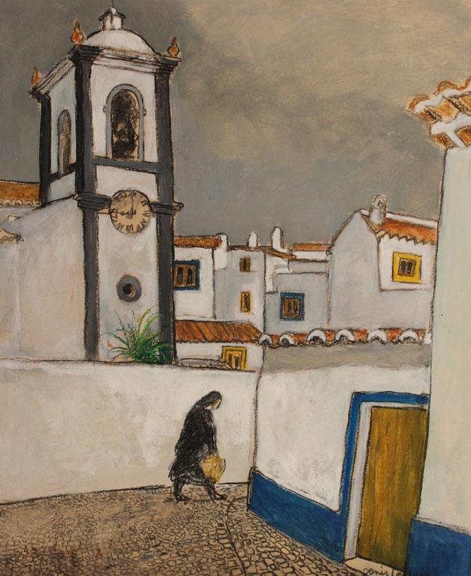 26- Portugal, Odeceixe, Technique mixte (fusain, pastel, huile), format 61 cm x 50 cm, prix : 480 €