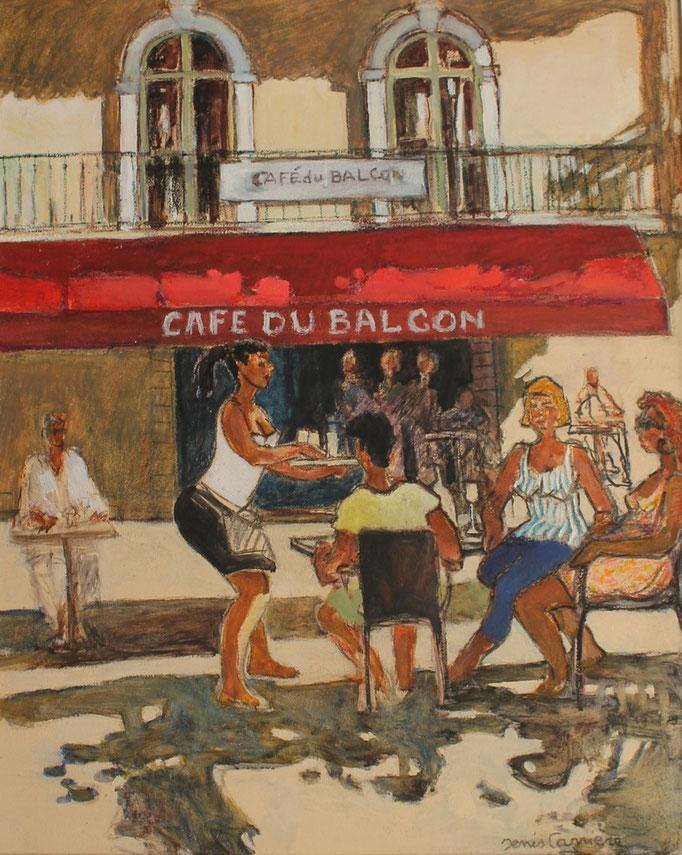 30- Saint-chinian, café du balcon, Technique mixte (fusain, pastel, huile), format 60 cm x 73 cm, prix : 680 €