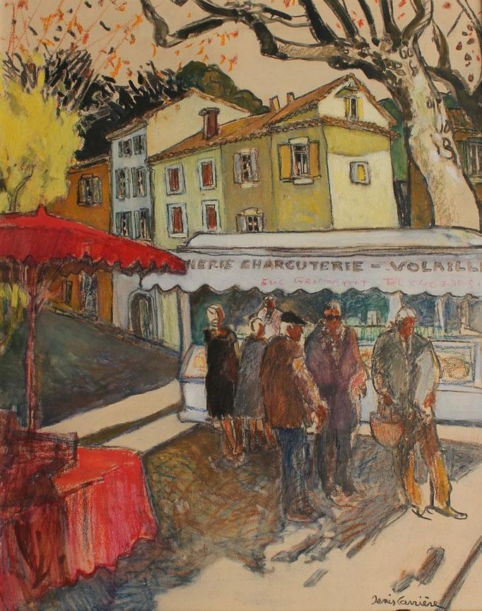 35- Saint-chinian, le marché du jeudi, le charcutier, Technique mixte (fusain, pastel, huile), format 65 cm x 81 cm, prix : 780 €