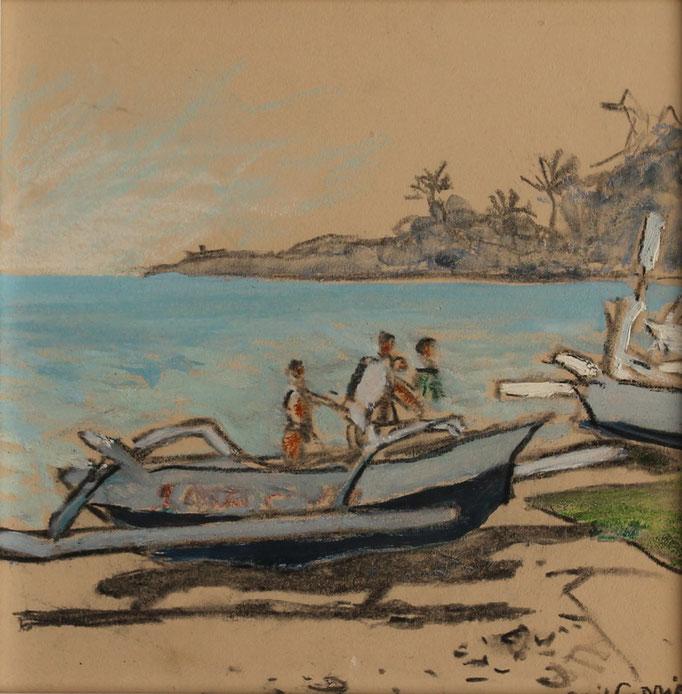 9- Bali, arrivée des pêcheurs, Technique mixte (fusain, pastel, huile), format 20 cm x 20 cm, prix : 90 €