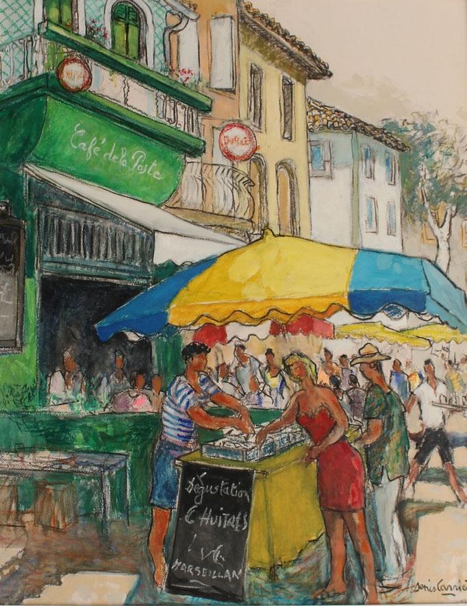34- Olonzac, vendeur d'huîtres, café de la Poste, Technique mixte (fusain, pastel, huile), format 65 cm x 81 cm, prix : 780 €