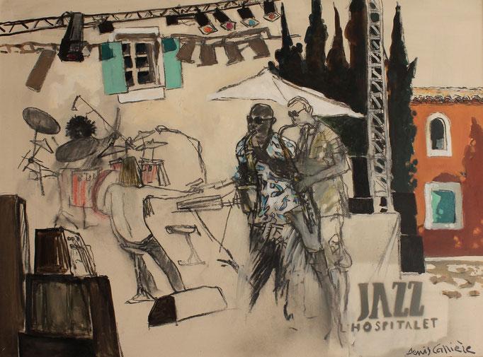 37- Jazz à l'Hospitalet,  Technique mixte (fusain, pastel, huile), format 60 cm x 81 cm, prix :    780 €