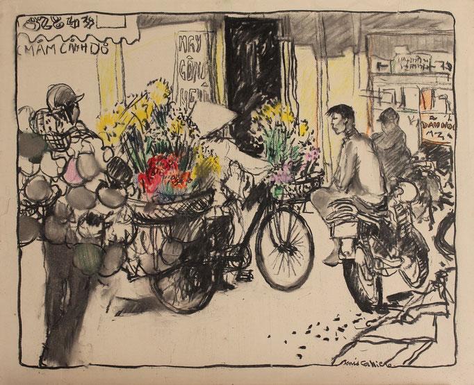 28- Hanoï, taxi moto, Technique mixte (fusain, pastel, huile), format 61 cm x 50 cm, prix : 480 €