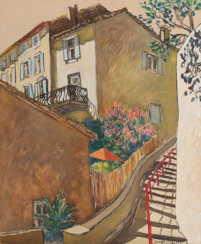 25- Ventenac Minervois, les escaliers, Technique mixte (fusain, pastel, huile), format 61 cm x 50 cm, prix : 480 €
