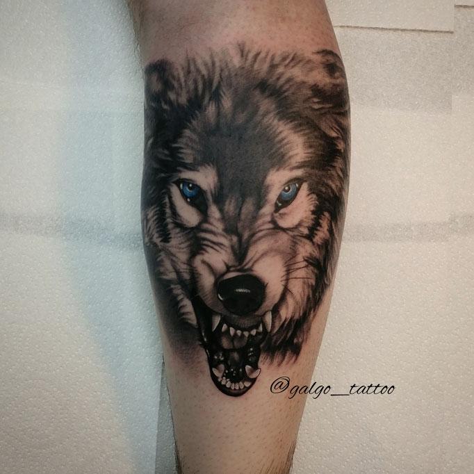 tatuaje realista de un lobo furioso en la pierna, hecho en Gran Canaria, España.