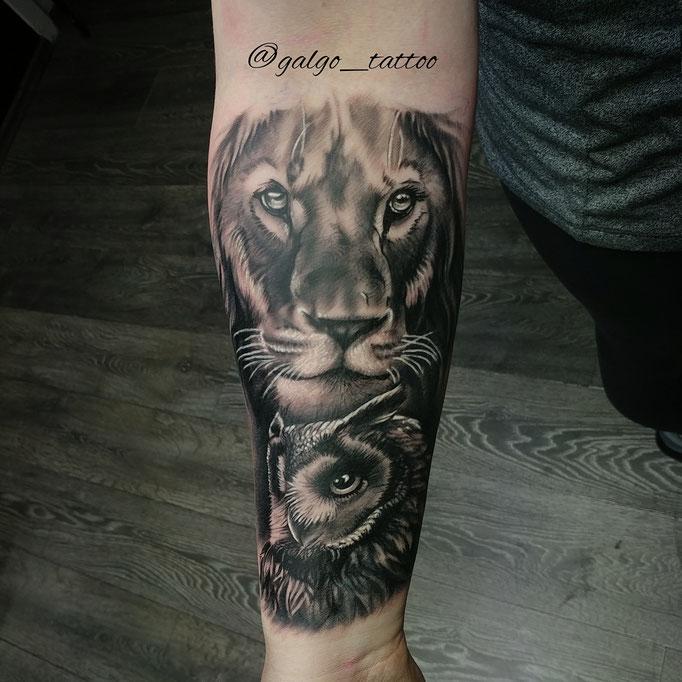 Tatuaje realista de un león con un búho en el antebrazo. Realistic tattoo of a lion with an owl