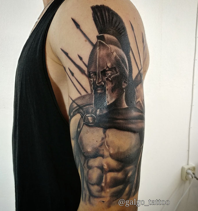 Realistic portrait tattoo of Leonidas from the film 300.