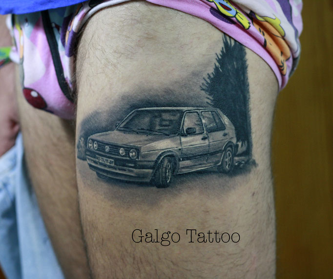 Volskwagen golf car tattoo. Vw realist tattoo.