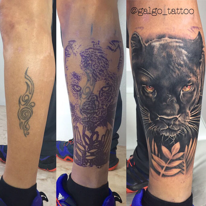 Cover up tattoo with a realistic panther.