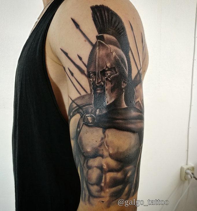 Tatuaje realista de Leonidas, el rey espartano de la pelicula de los 300. Leonidas tattoo, from the film 300