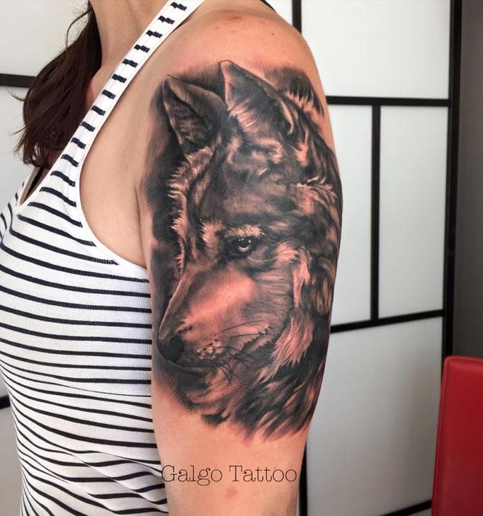 Tatuaje realista femenino de un lobo en el brazo, hecho en Alicante.