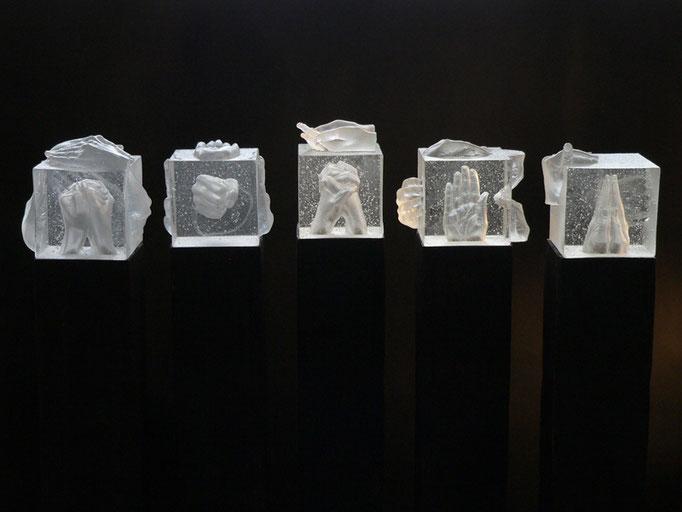 Universalsprache, je ca. 121 x 17 x 22 cm, Glas, Metall