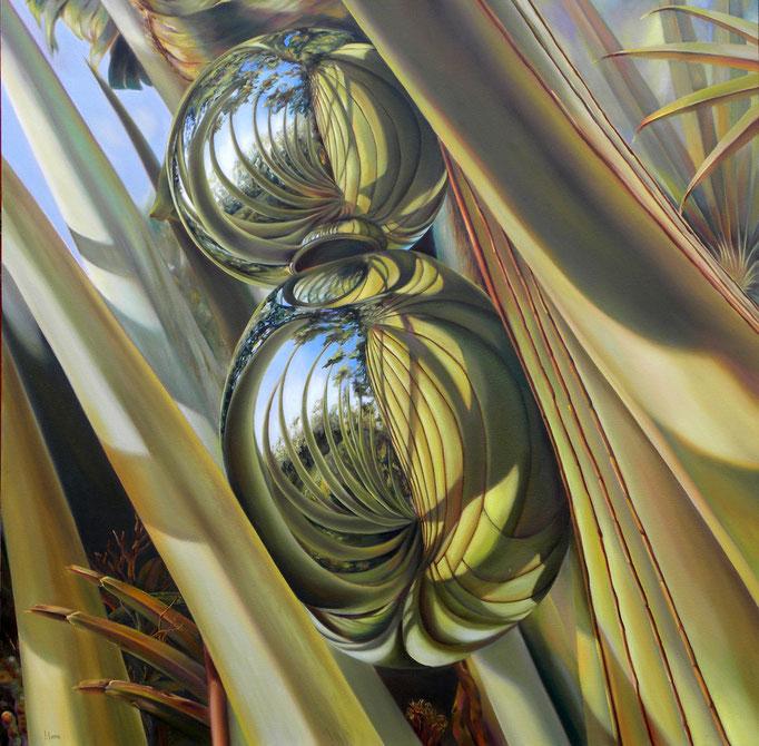 CONEXIONES PATAFÍSICAS. Óleo/tela, 120 x 120 cm. Jorge Luna.