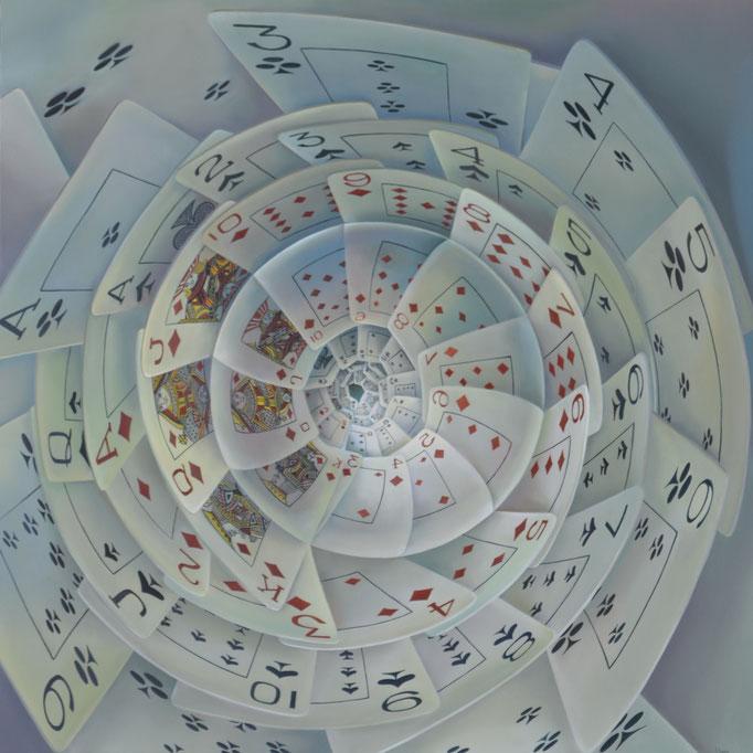 NÚMEROS MONÁRQUICOS. Óleo sobre tela, 150 x 150 cm. Jorge Luna