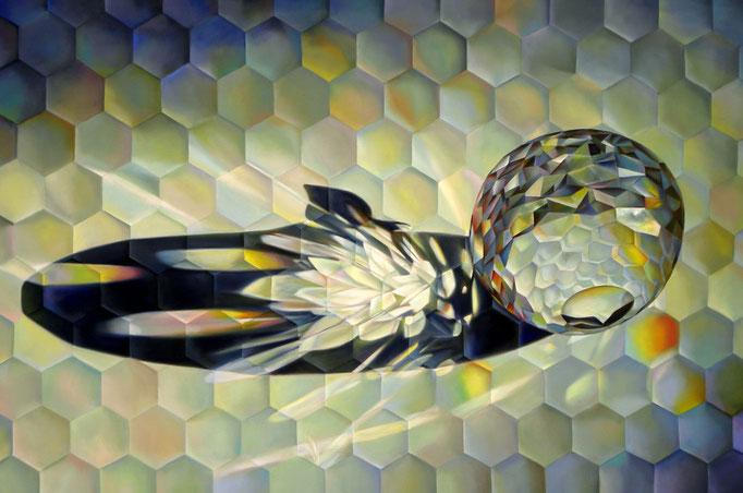 ABEJA REINA. Jorge Luna. Óleo/tela 100 x 150 cm.
