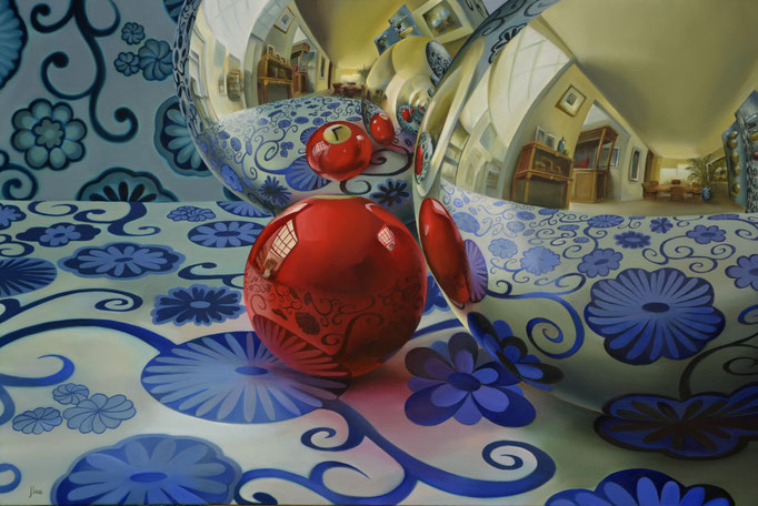 LA TALAVERA A TRAVÉS DE LA ESFERA. Óleo sobre tela. 80 x 120 cm. Jorge Luna
