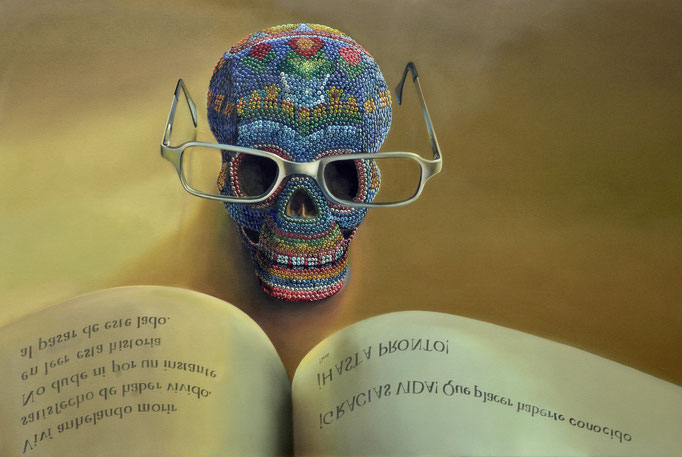 LA HISTORIA DE MI MUERTE. Óleo/tela 100 x  150 cm. Jorge Luna.