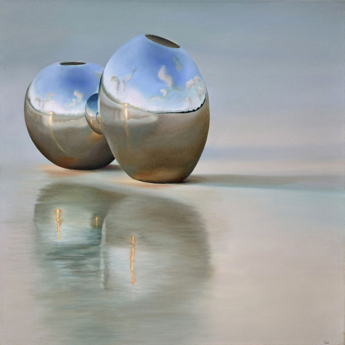 ÁNGEL DE LA GUARDA. Jorge Luna, óleo/tela, 100 x 100 cm.