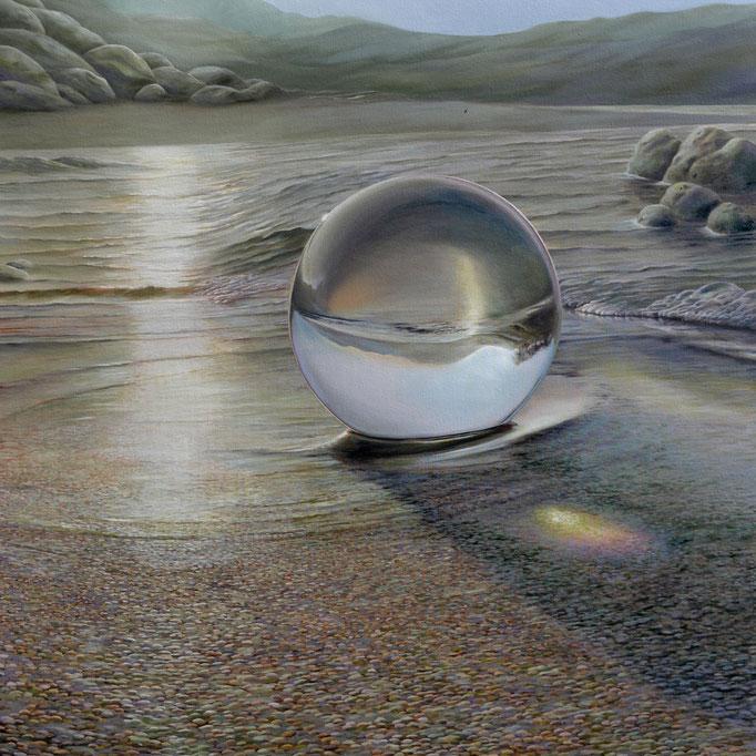 DESCIENDE EL SOL, óleo sobre tela, 130 x 130 cm. Jorge Luna