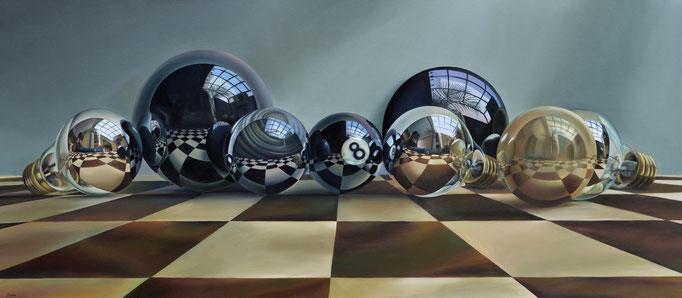 ESPEJOS DE OBSIDIANA, PLATA Y MARFIL. Óleo sobre tela, 80 x 180 cm. Jorge Luna.