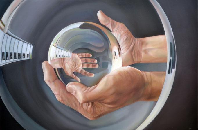 REFRACCIÓN DEL DESTINO.  Óleo sobre tela, 100 X 150 cm. Jorge Luna