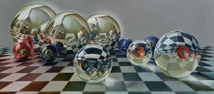 NÚMEROS REDONDOS. Óleo sobre tela, 80 x 180 cm. Jorge Luna.