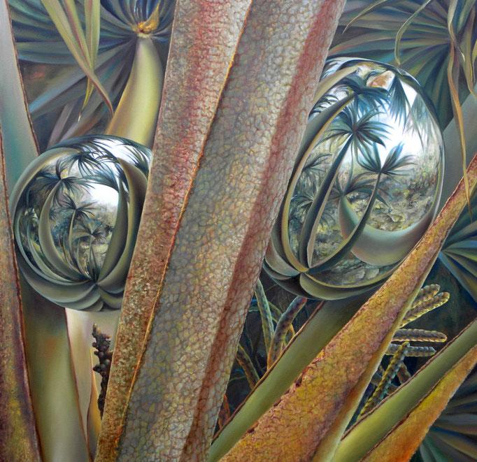 VEGETACIÓN BINOCULAR. Óleo/tela, 120 x 120 cm. Jorge Luna.
