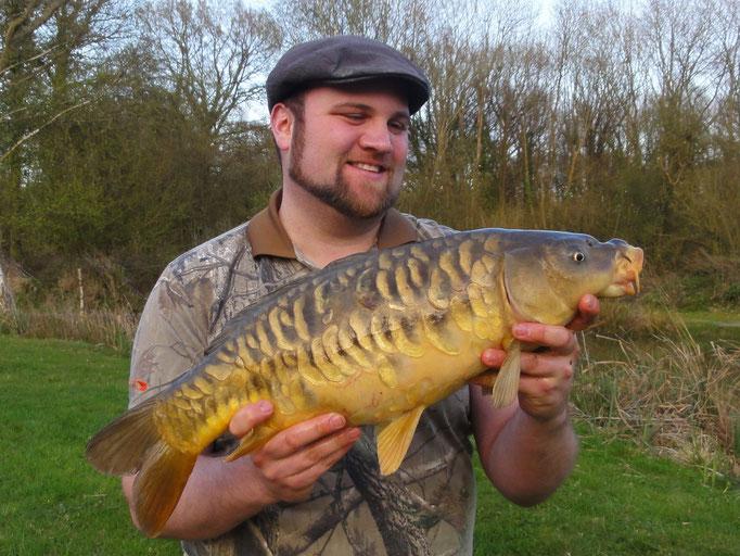 Steve Self with very healthy 7lb Mirror Carp caught on pellet