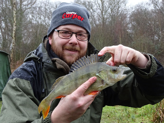 Aaron Chuck and a bristling perch from Lake 2 (February 2016)
