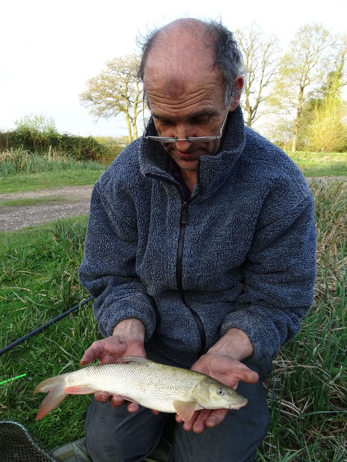 Keith and his first ever barbel, the first fish of the day caught in 3o seconds of the float hitting the water! (April 2015)