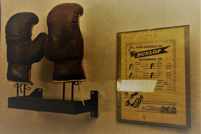 Vintage boxing gloves collector stand