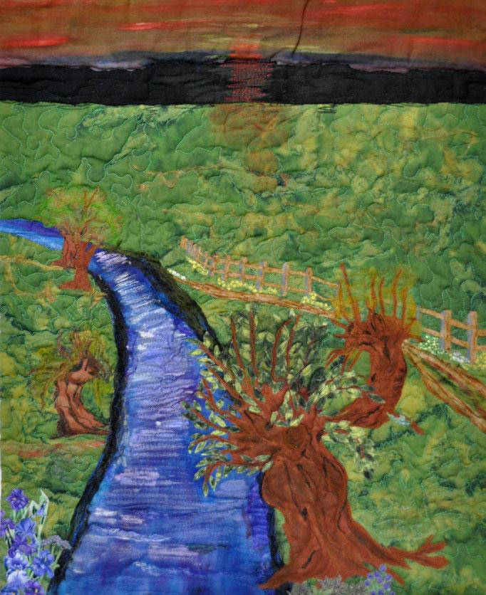 Weg am Fluss | 2012 | Artquilt by Karin Flacke (sportquilter.de)