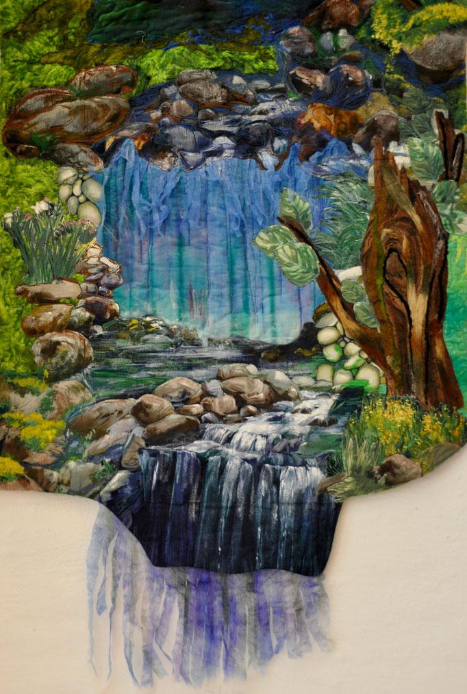 Wasserfall, Art Quilt by Karin Flacke