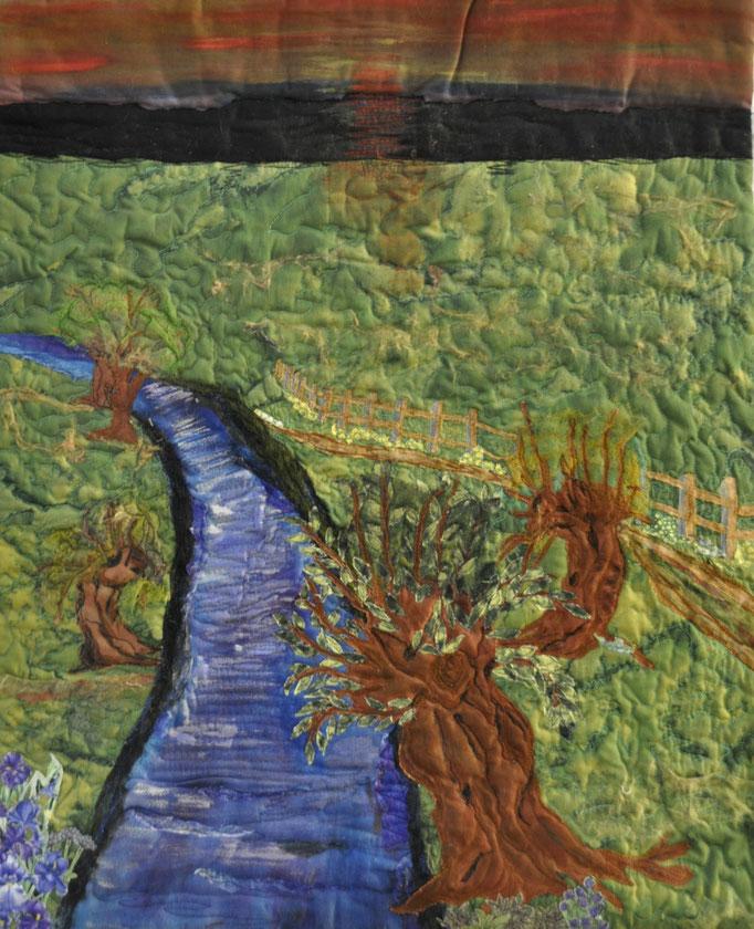 Weg am Fluss_Art-Quilt by Karin Flacke