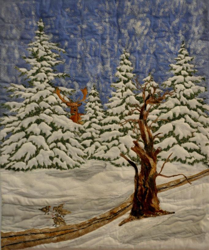 Waldwinter, Art Quilt by Karin Flacke