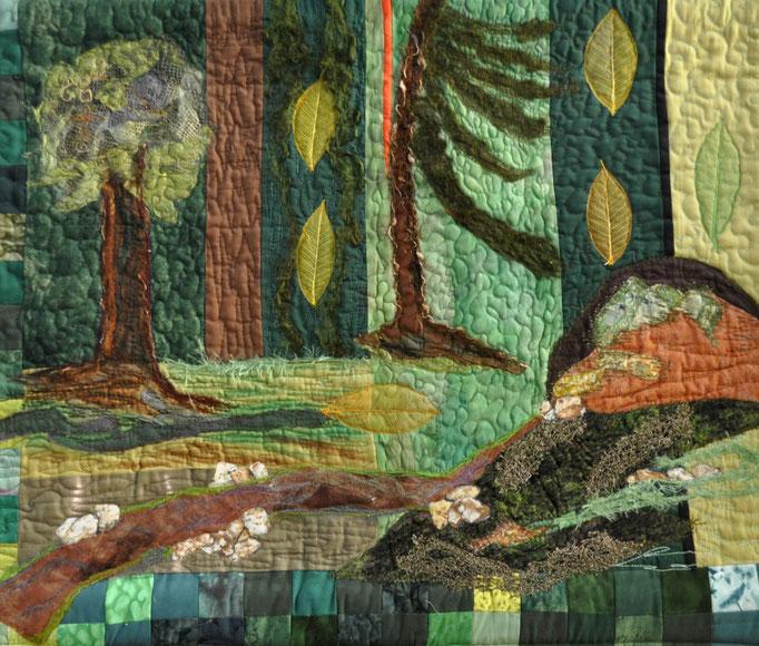 Waldlehrpfad_Art-Quilt by Karin Flacke