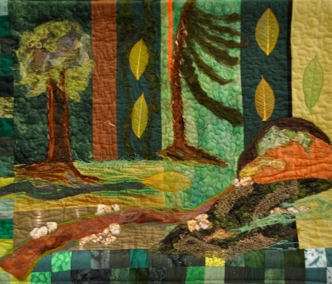 Waldlehrpfad, Art Quilt by Karin Flacke
