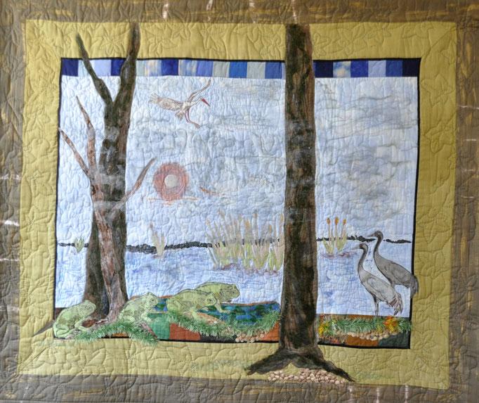 Kroetenwanderung_Art-Quilt by Karin Flacke