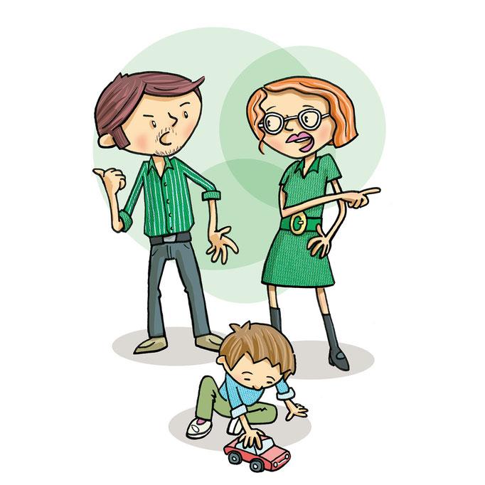 Illustration von Frank Schulz Art für Jan Uwe Rogge im GU Verlag zu Wie Erziehung garantiert misslingt (Mama und Papa diskutieren über Erziehung)