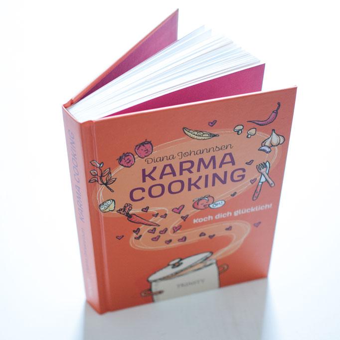 Illustration von Frank Schulz Art für Diana Johannsen im Trinity Verlag zu Karma Cooking (Gemüse, Obst und Herzchen dampfen aus dem Kochtopf heraus)