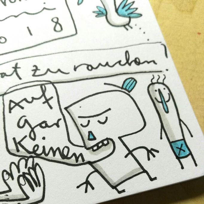 Skizze Was zu rauchen Detail, Zeichnung mit Tusche auf Papier von Frank Schulz Art, zeigt Fantasie Figuren im Gespräch