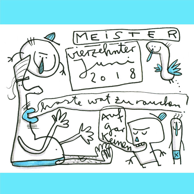 Skizze Was zu rauchen, Zeichnung mit Tusche schwarz und blau auf Papier von Frank Schulz Art, zeigt Fantasie Figuren im Gespräch