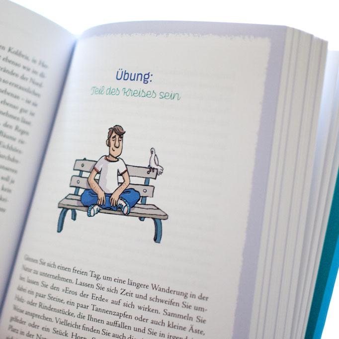 Illustration von Frank Schulz Art für Dirk Grosser im Trinity Verlag zu Lass es gut sein (Mann sitzt entspannt auf einer Parkbank vor einer Skyline)