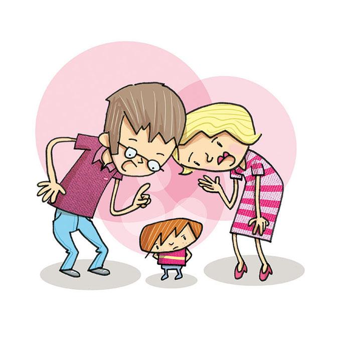 Illustration von Frank Schulz Art für Jan Uwe Rogge im GU Verlag zu Wie Erziehung garantiert misslingt (Mama und Papa reden auf Kind ein)