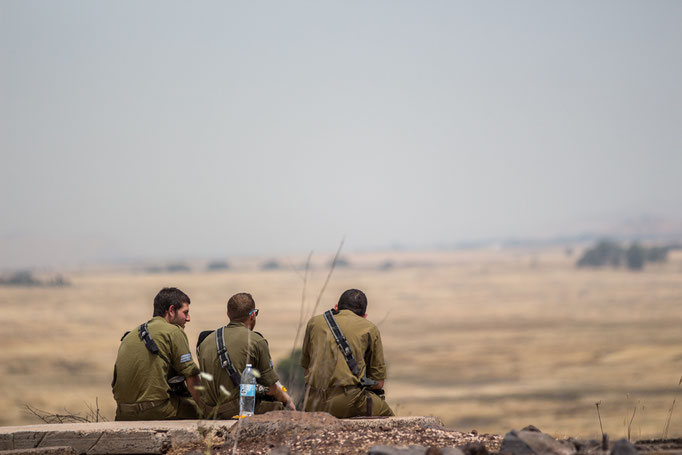 Israeli Soldiers taking a rest, Golan Heights. May 2017.