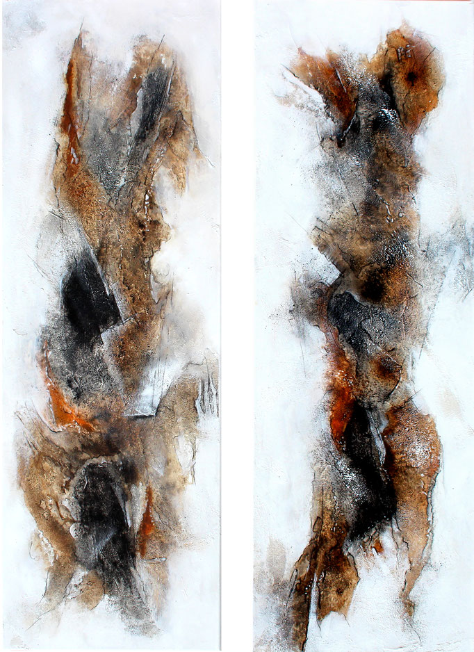 Diptychon, Wurzelwerk, 2x (120x40x2 cm), Acryl Mischtechnik, 2017