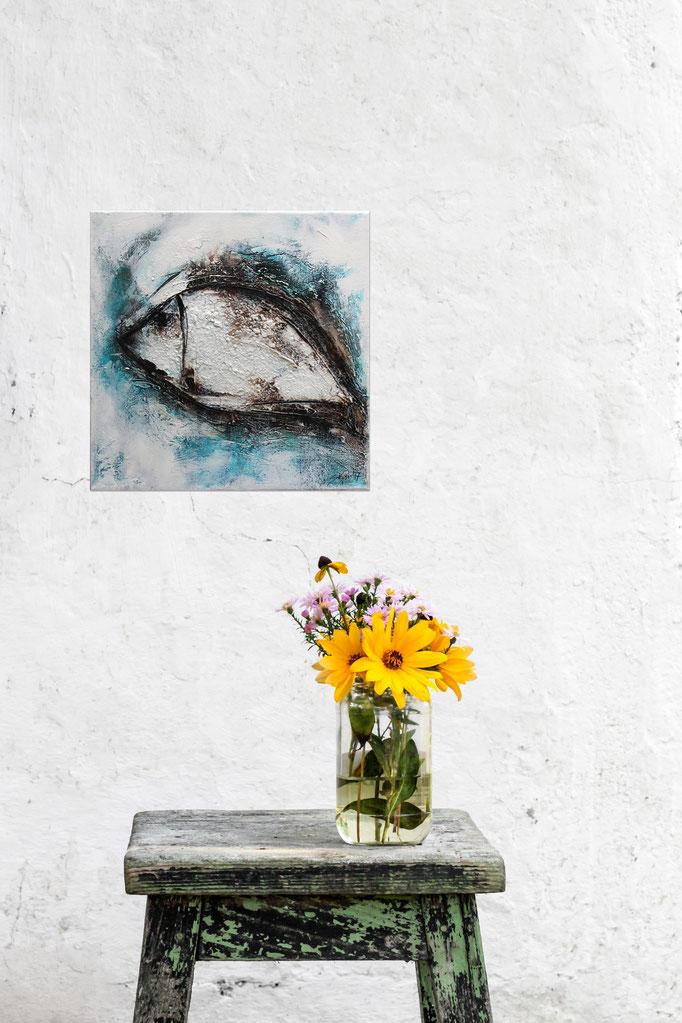 Raumansicht - Blupp, 30x30x3,5 cm, Acryl Mischtechnik, 2017