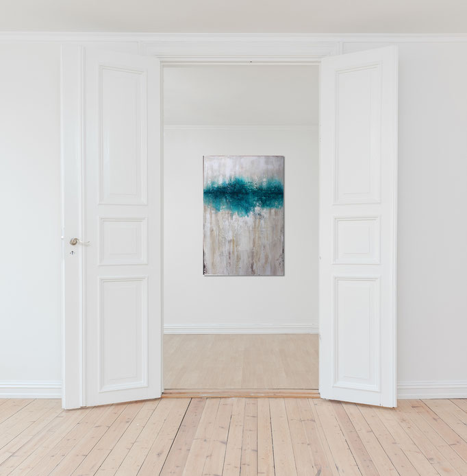 Raumansicht - Blue Vintage , 110x80x2,5cm, Acryl Mischtechnik, 2017